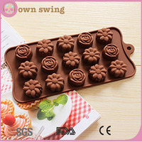 3 Type Flower Shape Silicone Chocolate Mold/15-cavity DIY Cake Silicone Mold/Candy Dessert Jello Mould