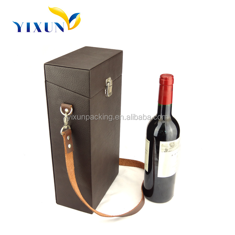 luxury wooden portable wine carrier packaging box wholesale