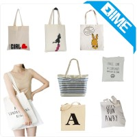 Logo Printing White Cotton Bags Shopping Tote Bags Daily Handbags Ladies Bags