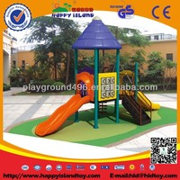 outside playground games/playground (large amusement park equipment with diverse roofs & slides)