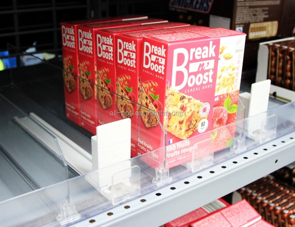 Clear Plastic Shelf Divider & Pusher System for supermarket