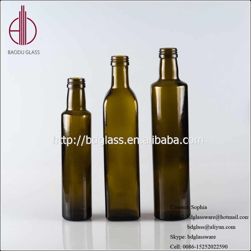 Professional dark green glass olive oil bottle decorative glass bottle olive oil for wholesales
