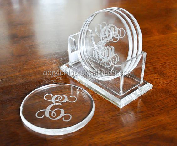 Clear Acrylic Coasters Acrylic Drink Coasters Coasters Display Stand