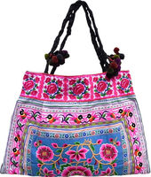 Fair Trade Pon Pon Tote Embroidered HMONG Hill Tribe Bag