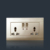 High-grade champagne gold 13a 2 gang 3 pin switched socket with neon