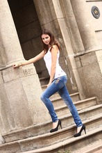 eco friendly low waist fashion female skinny latest jeans tops girls casual blue