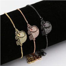 New trending products jewelry wholesale little elephant brass white cubic zircon bracelet wholesale