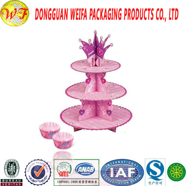 HOT SALE party favor paperboard cake stand/decorative folding cakestand for birthday and wedding