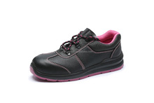 Fashion trending low cut leather Laced up ladies safety shoes with flat outsole