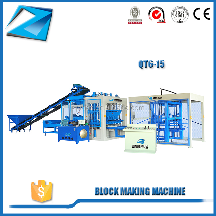 Professional concrete hollow block making machine QT6-15 price list