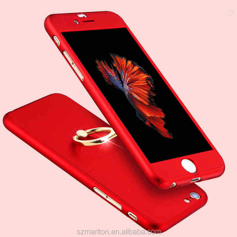 360 degree Rotation Full cover Mobile phone Ring case for iphone7 /plus Shockproof phone cover case