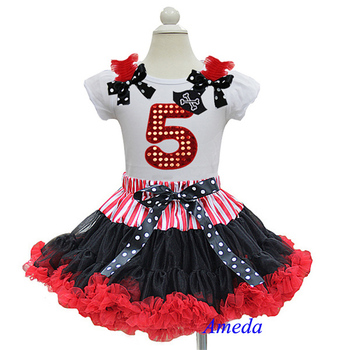 Pirate Black Red Pettiskirt with Bling Red 5th Birthday White Short Sleeves Top 1-7Y