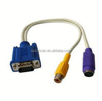 vga svga to s-video 3 rca tv av converter cable a