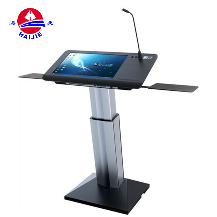 Haijie brand YJ-21P metal modern touch screen aluminum digital podium/lectern