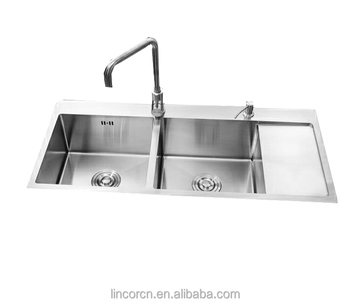 Superior quality hot sale double bowl stainless steel laundry corner kitchen sinks with factory cUPC certificate