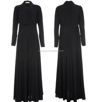 Wholesale top quality fashion women dubai black abaya long dress BUTTONED WRAP ABAYA simple black open abaya