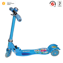 Euramerican style durable iron alloy foldable 3 PU wheels with Bell kids child easy bike kick bady scooter