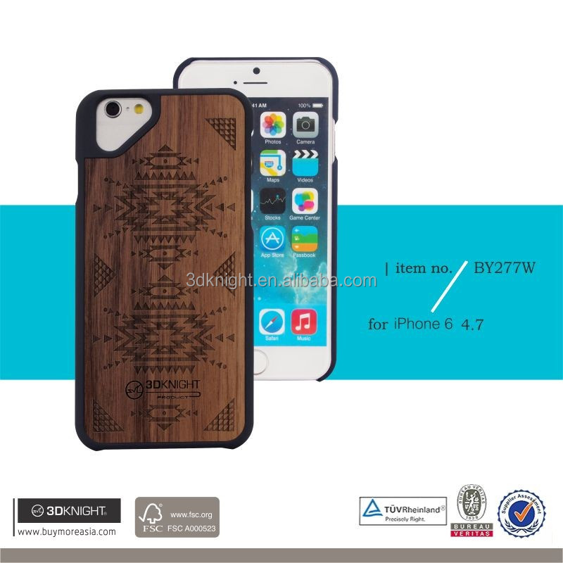Factory high quality Wood + PC,PC + Wood Material for iphone 6 + wood phone cover