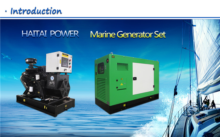 Sea water cooled 10kw - 80kw marine diesel generators with wet exhaust