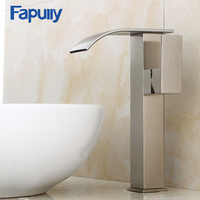 Fapully top 10 faucet stainless steel nickel brush bathroom waterfall basin sink faucets