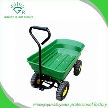 4 Wheel Garden Cart Truck 75L Sack Trolley Wheelbarrow Tipper Trailer