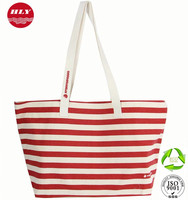 12OZ Wholesale Stripe Long Handled Canvas Europe Tote Shopping Bags