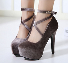 HFCS368 Customize Suede material ladies party wear shoes super high heel sandals