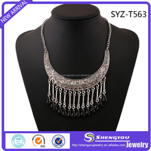 Best Silver Engraving Collar With Black Acrylic Tassels Statement Necklace