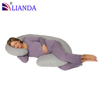 j Shaped Contoured Body Pregnancy Maternity Pillow with Zippered Cover