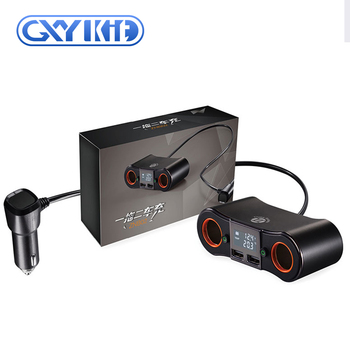 GXYKIT Universal Smart 12V 24V Black Dual USB Car Charger for Mobile Device