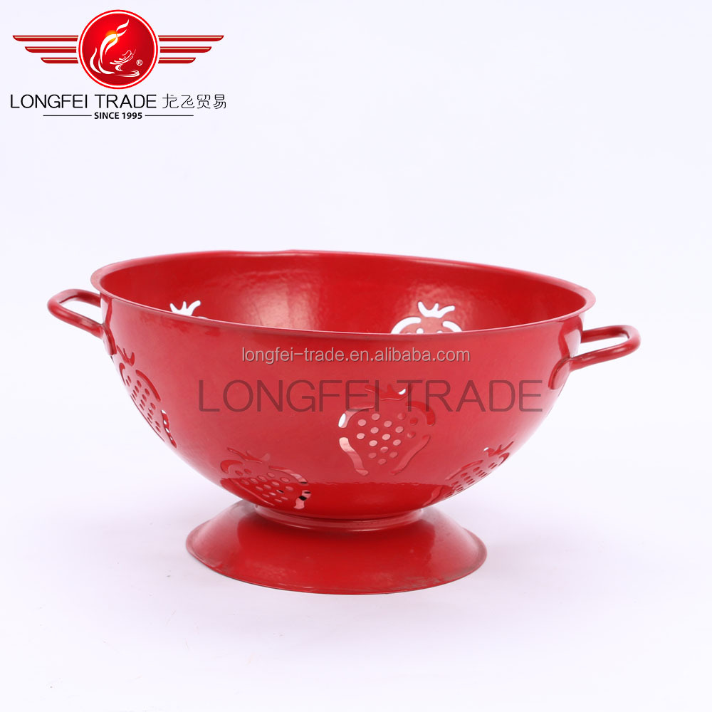 Wholesale Enamel Printed Red Fruit Basin
