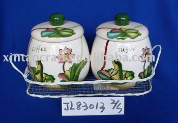 Glazed Ceramic Storage Bottles & Jars with Lid