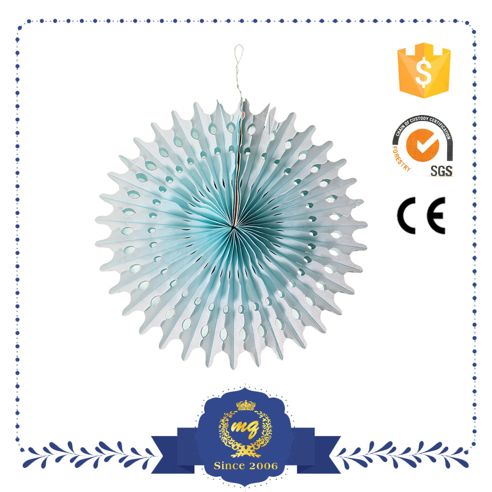 Blue Hanging Round Handmade Decoration Paper Fan Wedding