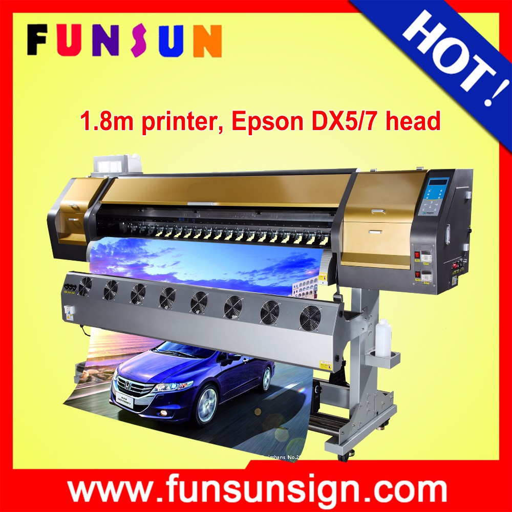 factory price Funsunjet FS-1802G 1.8m tarpaulin printer with dx5 1440 dpi for promotion