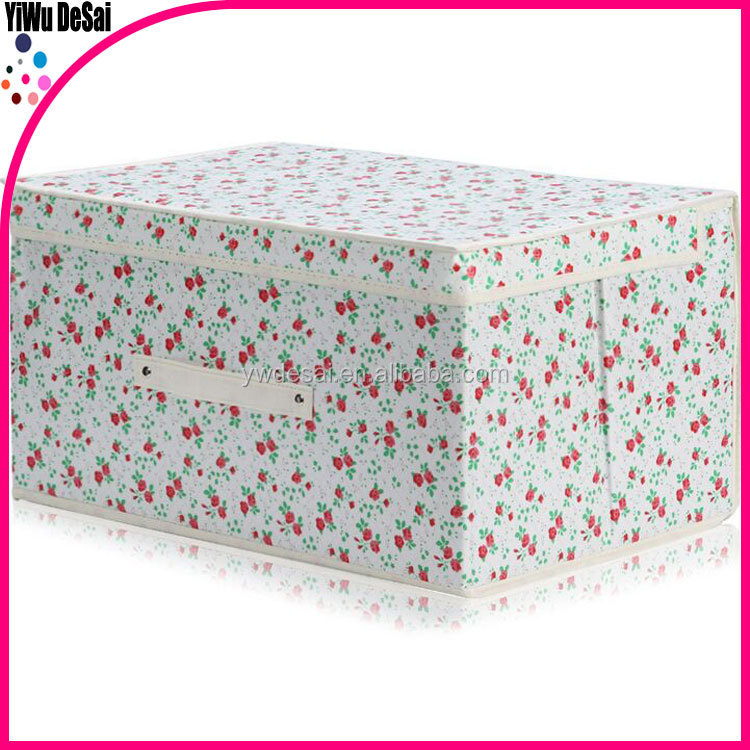 customized modern collapsible box with lid/eco-friendly printed folable storage box fabric/non woven storage box