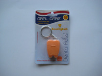 Tooth shape dental floss with keychain