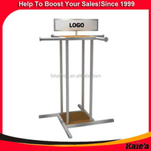 Factory direct provided metal 4 way display rack for clothes