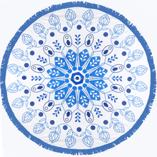 Fashion Ocean Blues printed Mandalas Round Beach Towel with tassel