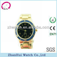 2013 ladies free style wholesale gold imitation blue scale bezel quartz bracelet stainless steel back geneva watch