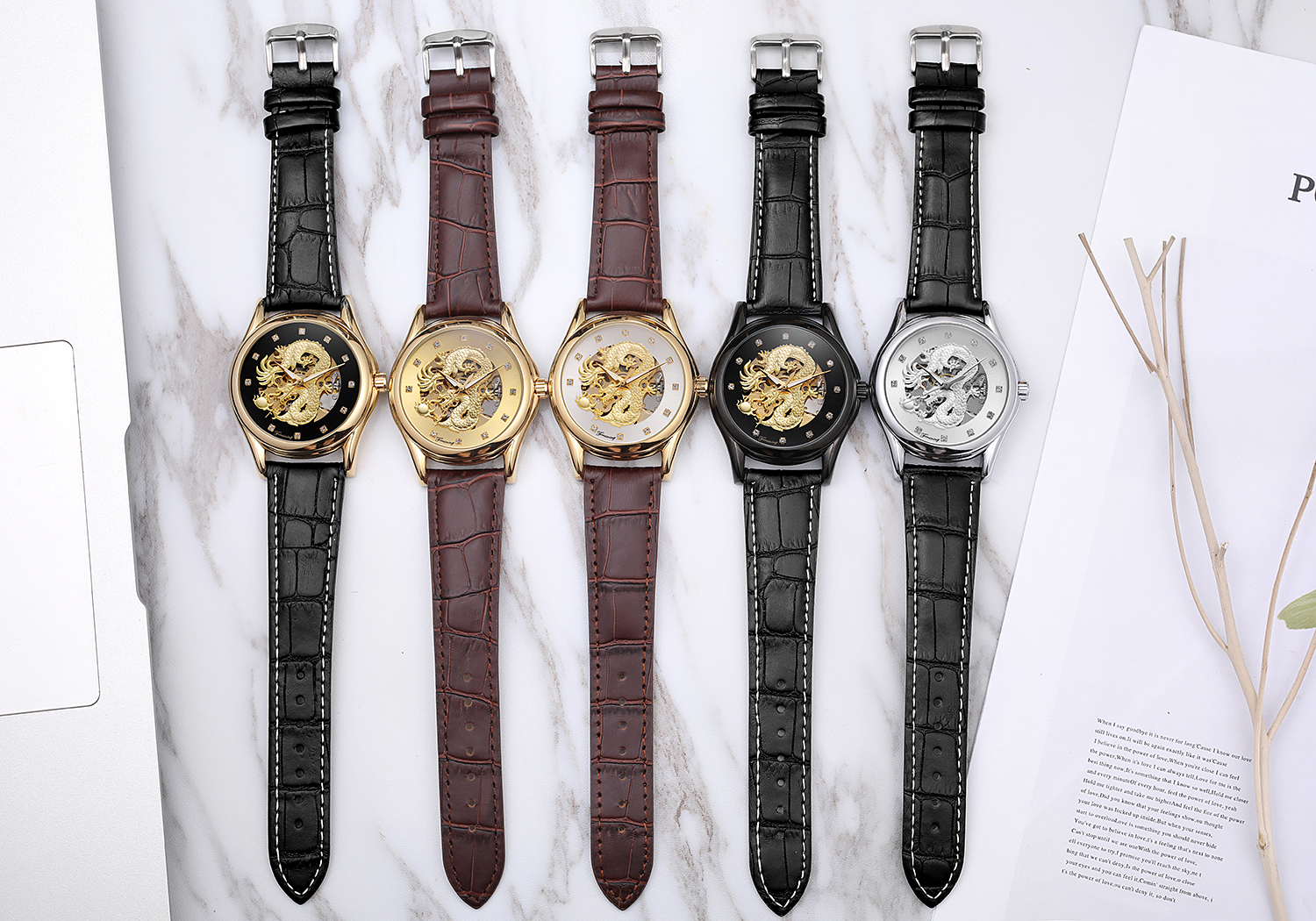 Top Brand Forsining 2019 Watch with Clear stones Genuine Leather Strap Automatic Mens Watch With Gold Dragon