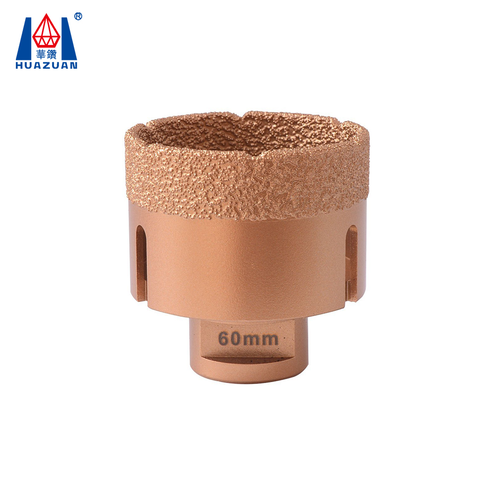 Huazuan dry vacuum brazed diamond hole saw/drill bit for marble, granite, ceremic, porcelain, concrete, brick