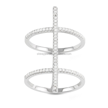 925 sterling silver micro pave thin band long women ladies fashion long bar rings