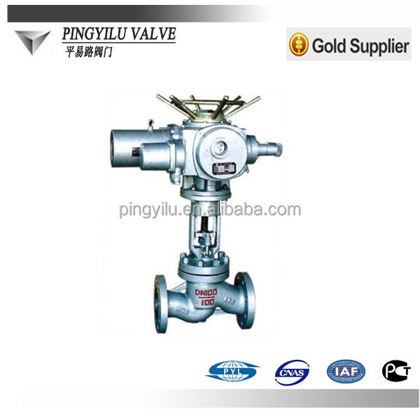 electric actuator rising stem globe valve for steam water industry
