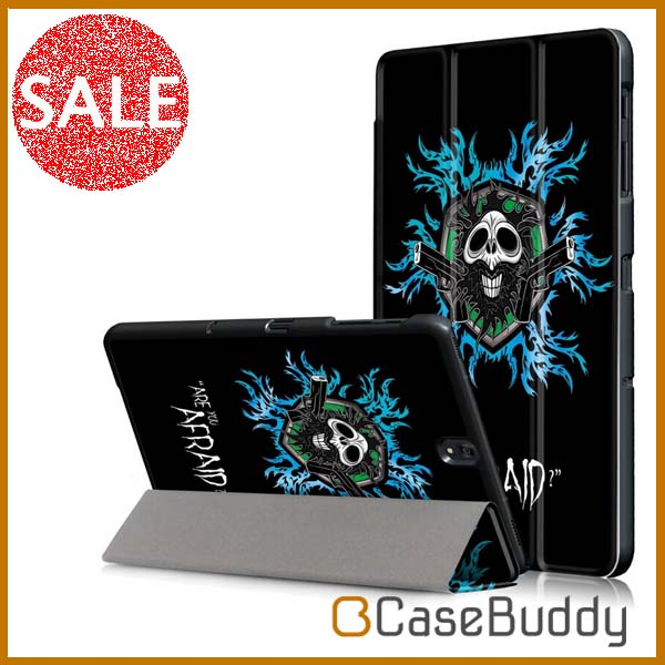 Casebuddy Color Printing Protective Folio Stand Flame Skull Leather Cover Case for Samsung Galaxy Tab S3 9.7 inch T825