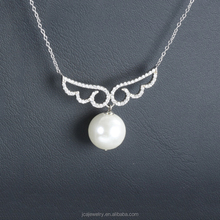 Wholesale 925 Sterling Silver Fancy Pearl Necklace With Angel Wing