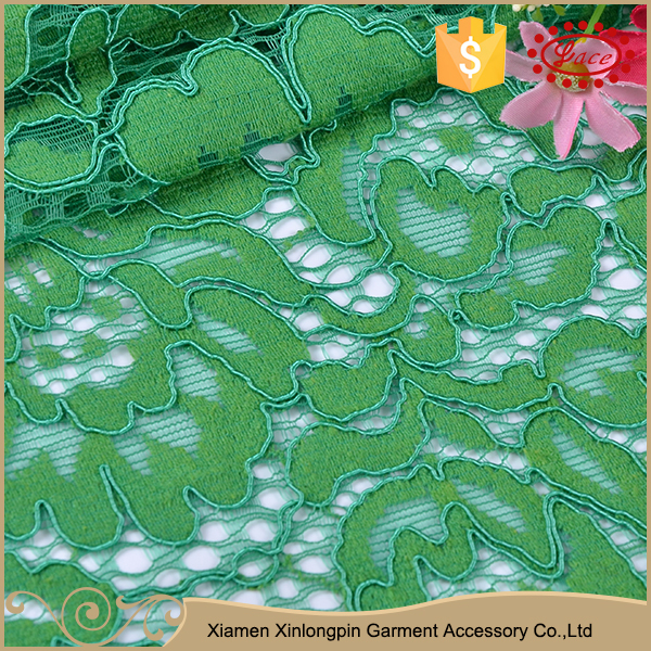 High quality spring green fabric heavy swiss cotton voile lace