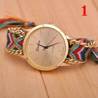 Geneva Brand Handmade Braided Friendship Wrist Watch More Discount Ribbon Band Dress Watch For Women