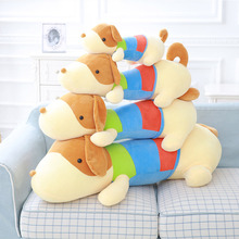 Feather cotton colorful prostrate plush toy dog pillow MT110881