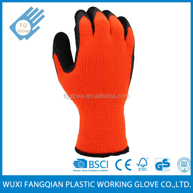 Thermal Knitted Crinkled Latex Acrylic Garden Glove for Winter