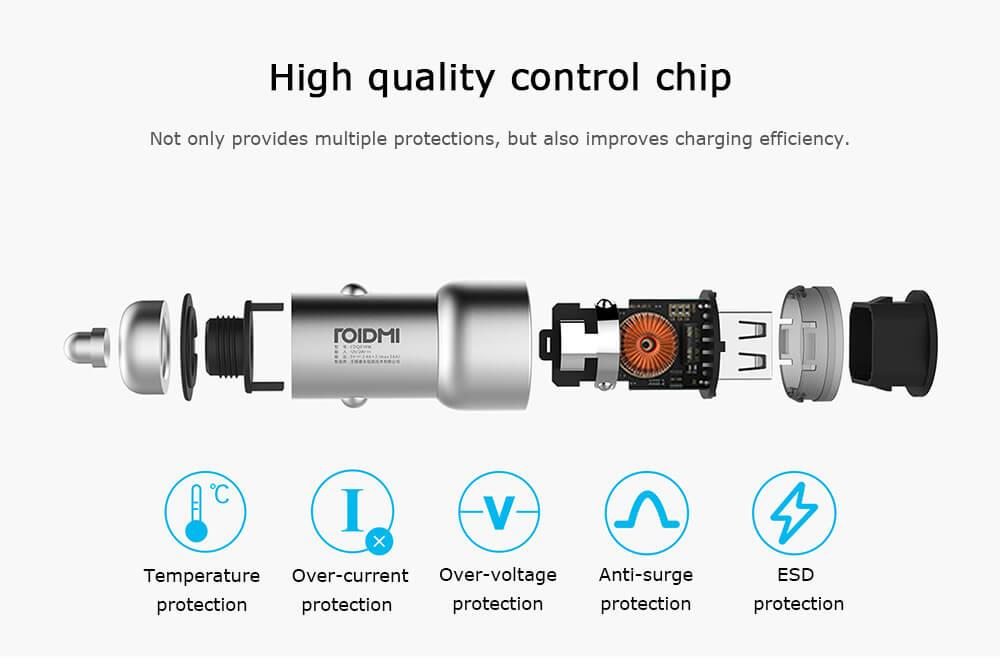 Original Xiaomi Roidmi C1 Car Charger Metal Body Dual USB Port 5V 3.6A Quick Charger Smart Charging Universal For iPhone iOS And Android (8)